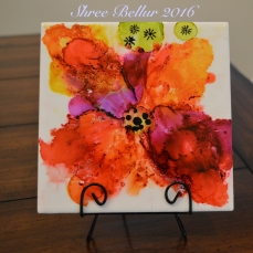 SOLD Alcohol ink tile art