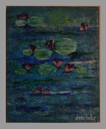 Water Lilies Oil & cold beeswax on wood