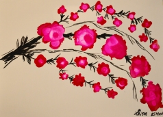 Cherry Blossoms Ink Art