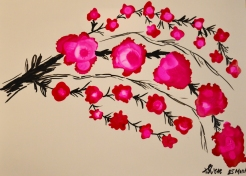 Cherry Blossoms Ink Art