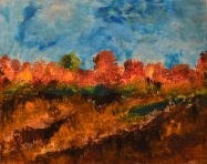 Columbus Fields: Beeswax, dry pigments oil painting on a gallery style wooden panel ready for display Size: 24 inches x 18 inches