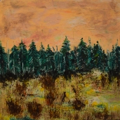 Highway 7 Ontario: Beeswax, dry pigments oil painting on a gallery style wooden panel ready for display Size: 16 inches x 16 inches