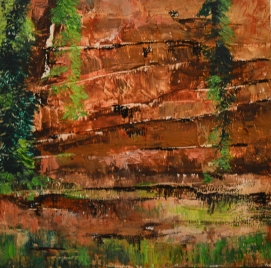 Crevice: Beeswax, dry pigments oil painting on a gallery style wooden panel ready for display Size: 12 inches x 12inches