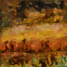 Winter: Beeswax, dry pigments oil painting on a gallery style wooden panel ready for display Size: 16 inches x 16 inches